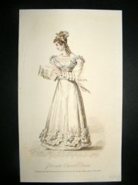 Lady's Magazine 1825 H/Col Regency Fashion Print. Private Concert Dress 58